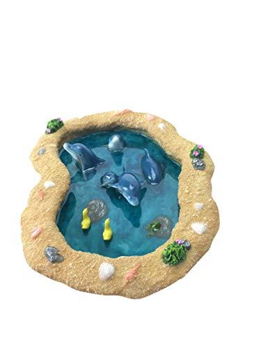 GlitZGlam Miniatur-Teich für einen Feengarten, blaue Delfine Ein Miniatur-Teich für einen Miniatur-Feengarten und verzaubertes Gartenzubehör
