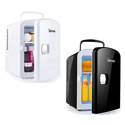 AstroAI Mini Fridge 4 Liter/6 Can Cooler and Warmer for Cars, Homes, Offices, and Dorms, White and Black-Bundle