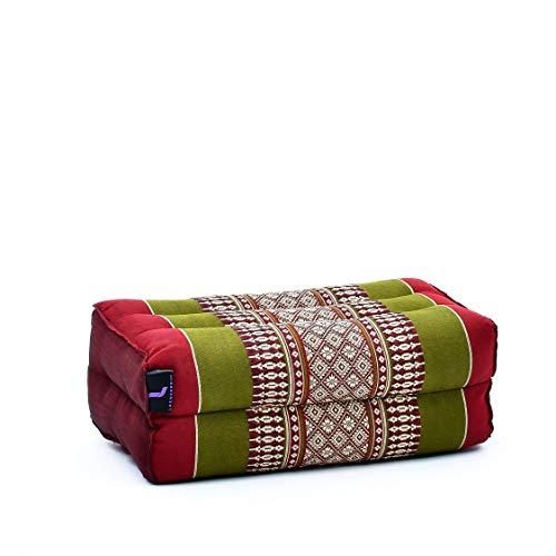 Leewadee Piccolo Blocco per Yoga: Cuscino da Pilates Rettangolare e Strumento da Meditazione, Cuscino da Terra in kapok Naturale, 35 x 18 x 12 cm, Rosso Verde