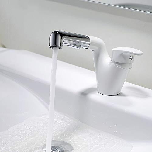 Toque de agua DKEE Tocador Del Baño De Cobre Tire 360 ° De Rotación Del Grifo De Agua Caliente Y Fría Acondicionado Personalidad Creativa Home Hotel Orificio De Grifo (Color : White)