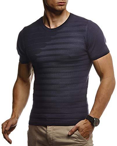 Leif Nelson Herren Sommer T-Shirt Rundhals Ausschnitt Slim Fit aus Feinstrick Cooles Basic Männer T-Shirt Crew Neck Jungen Kurzarmshirt O-Neck Sweater Shirt Kurzarm Lang LN7300 D.Blau XX-Large