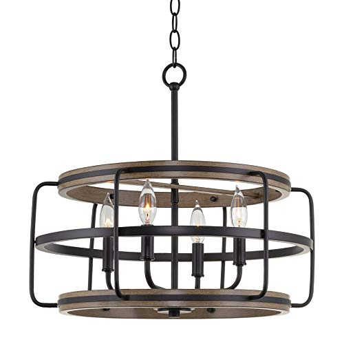 "Kira Home Ridge 20"" 4-Light Modern Farmhouse Chandelier, Smoked Birch Wood Style + Black Finish"