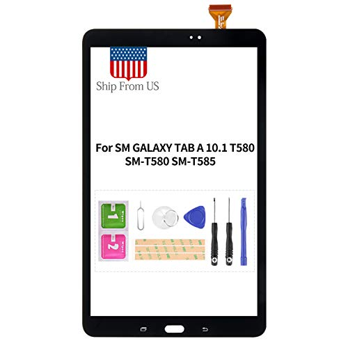 for Samsung Galaxy Tab A 10.1 2016 T580 Screen Replacement for SM-T580 T585 Touch Sensor Glass Panel Digitizer Repair Kits with Free Tools (Black)