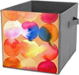 Caja de almacenamiento plegable cuadrada para cubos de almacenamiento, organizador duradero, diseño de círculos de acuarela, color cálido