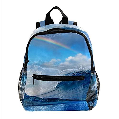 Alfombra redonda para niños, antideslizante, redonda, lavable, para jugar a los conejitos, Cielo Azul Y Arco Iris 19 (Multicolor) - W01