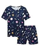 Bricnat Mädchen Schlafanzug Planet Schlafanzüge Kurzarm Pyjama Kinder Drucken Nachtwäsche Kinder Bekleidung Pyjama Set Zweiteiliger Blau 120