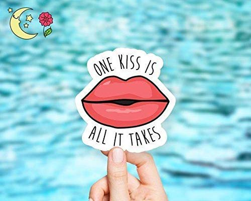One Kiss Is All It Takes Vinyl Sticker
