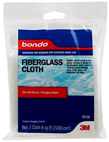 Bondo Fiberglass Cloth, Repairs Small to Large Holes, Cracks, Rust Outs or Gouges in Any Fiberglass, Metal, Wood or Concrete Surface Including Pools, Boats, Sheds, Play Equipment & More, 8 sq. ft, 1 cloth