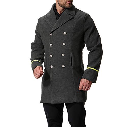 AOWOFS Herren Mantel Winter Regular Fit Wintermantel Zweireiher Kurz in Militärischem Stil