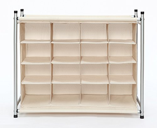 STORAGE MANIAC 16-Cube Stackable Shoe Cubby Organizer, Free Standing Shoe Cube Rack for Entryway, Bedroom, Apartment, Closet, Beige