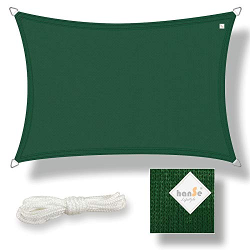 hanSe® Marken Sonnensegel Sonnenschutz Wetterschutz Wetterbeständig HDPE Gewebe UV-Schutz Rechteck 2x4 m Grün