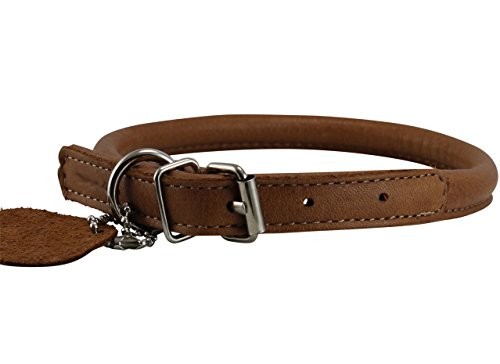 Genuine Leather Rolled Dog Collar 10.5