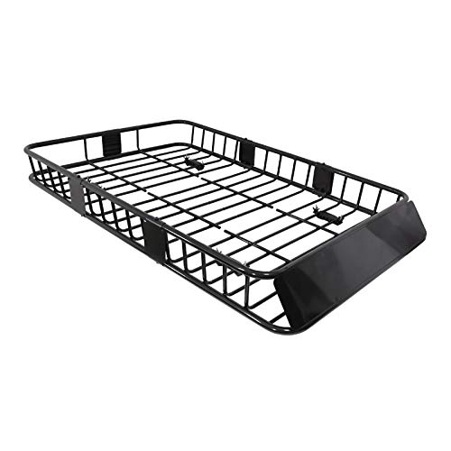 Spec-D Tuning 64' Extendable Roof Rack Black Steel Luggage Cargo Carrier Top Basket SUV Truck