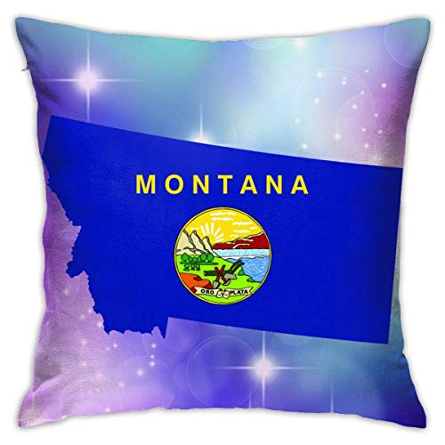 v-kook-v Montana State Shaped Flag Decorative Square Throw Pillow Covers Cushion Case Pillowcases 18 X 18 Inch