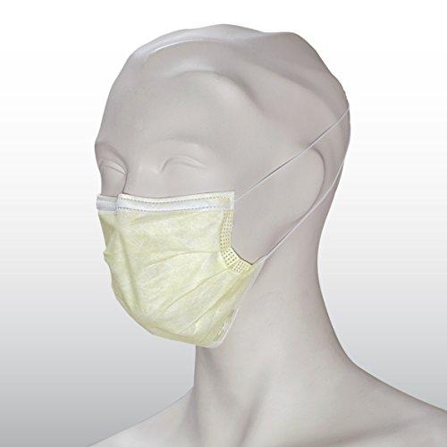Medizinischer OP-Mundschutz EN 14683 Typ IIR, gelb, 3-lagig, hochwertig, mit Gummischlaufen, PP-Vlies, formbarer Nasenbügel, zertifiziert, Einweg Mundschutz, 50 Stück