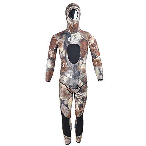 WYYHAA Traje de neopreno para hombre, 5 mm/7 mm, 2 piezas, neopreno, con capucha, pesca submarina y caza subacuática, traje de buceo para hombre, camuflaje, 5 mm, XXL