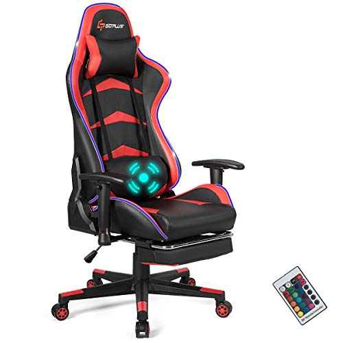 Goplus Massage Gaming Chair with LED Light, Reclining Backrest Handrails...
