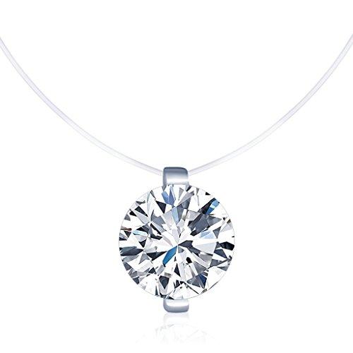 Unendlich U Kreativ Solitär Kette 925 Sterling Silber Zirkonia Damen Halskette Anhänger Transparente Angelleine Nylonkette, Silber