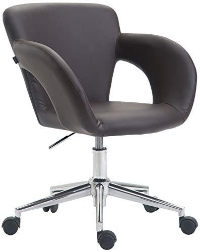 CLP Bürostuhl Edison mit Kunstleder-Bezug, Bürosessel mit stufenloser Sitzhöhenverstellung, Schreibtischstuhl mit Armlehnen, Farbe:braun
