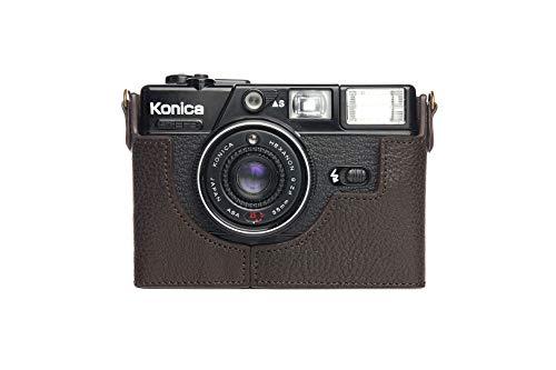 Funda de Cuero Genuino Hecho a Mano con Media cámara para Konica C35 EF3 Color marrón Oscuro