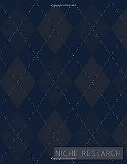 Niche Research: Workbook to Brainstorm, Organize, and Track Ideas - Navy Blue Argyle Cover Design