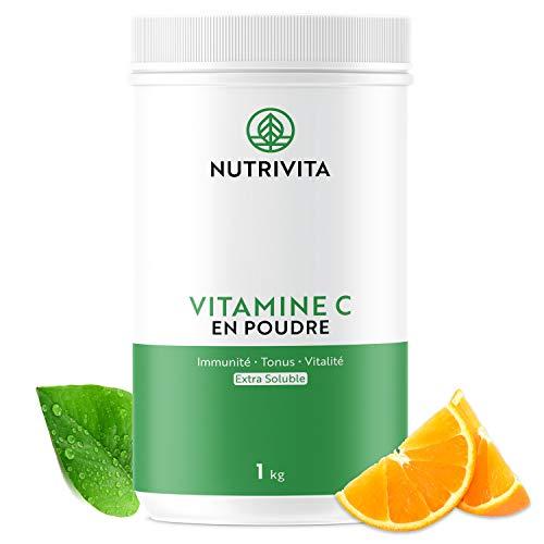 Vitamina C Pura en Polvo 1 kg | 100% Ácido L-Ascórbico | Polvo Ultra Fino | Mejora el Sistema Inmunológico | Envasado en Francia | Cuchara Medidora Incluida | Nutrivita