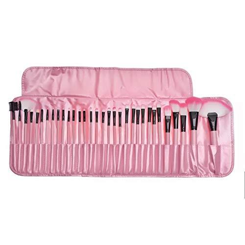 32 piezas Maquillaje Pinceles Colocar Profesional Facial Belleza Instrumentos Portátil Viajar Rostro Ojo Labio Cosmético Cepillo Con Cuero Almacenamiento Bolsa Caso (Rosa)