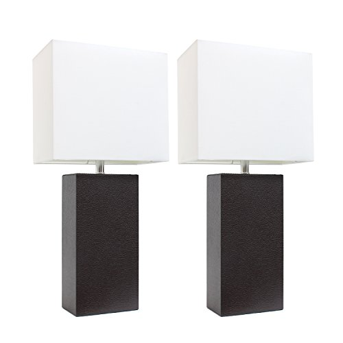 """Elegant Designs LC2000-BWN-2PK 2 Pack Modern Leather Table Lamps with White Fabric Shades, 3.9"""", Espresso Brown, 2 Count"""
