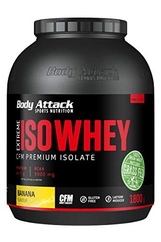 Body Attack Extreme Iso Whey, CFM Aislado de proteína de suero de leche de sauce irlandés 100%, sin gluten, rico en AEA, bajo en grasas, 90,6% de contenido de aislado (plátano, 1,8 kg)