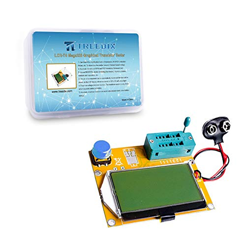 Treedix LCR-T4 Mega328 Graphical Transistor Tester ESR Transistor Diode Resistance and Capacitance Meters with Battery Buckle and Acrylic Case