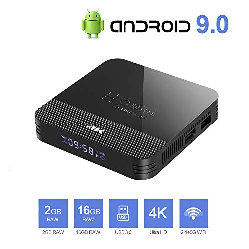 Android TV Box 9.0 Android 9.0 TV Box 2GB RAM 16GB ROM RK3228A Quad Core Bluetooth 4.0 WiFi 2.4G & 5G Ethernet 2USB Set Top Box Support 4K Ultra HD