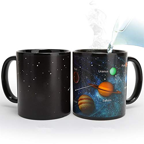 JMAHM Farbwechsel Tassen Wärmeempfindliche Magische Becher Verfärbung Porzellan Sonnensystem Muster Milch Kaffeetasse (12oz / 330ml, Sonnensystem)
