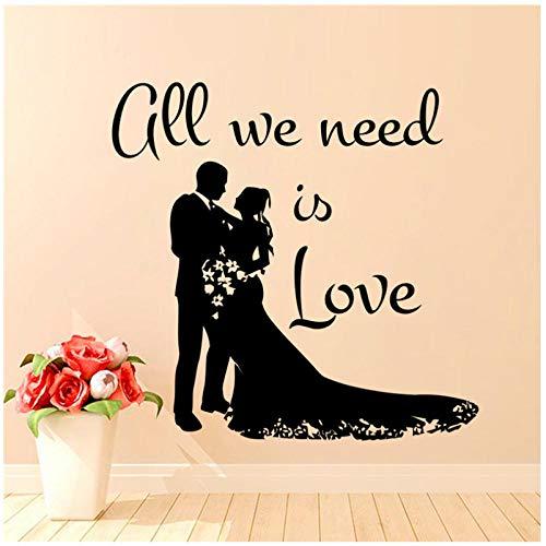 Alles wat we nodig hebben, is liefde silhouetten bruiloft art muurstickers, vinyl, afneembaar, voor bruiloftskamer, decoratie, stickers bruid en bruid 44 x 49 cm