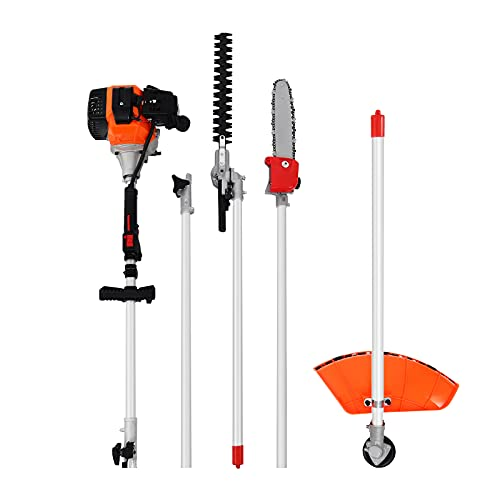 5 in 1 52CC Multifunctional 2-Stroke Petrol Brush Cutter Grass Trimmer Chainsaw Hedge Trimmer Extension Pole
