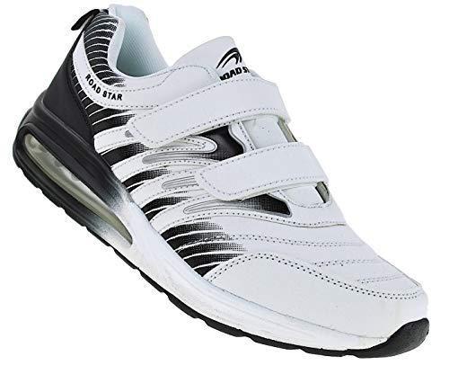 Bootsland Unisex Klett Sportschuhe Sneaker Turnschuhe Freizeitschuhe 001, Schuhgröße:48, Farbe:Weiss/Schwarz