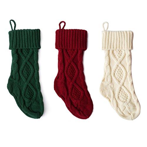SAMGOO 3er Set Weihnachtsstrumpf Gestrickte Wolle Geschenktüte Hängende Strümpfe Weihnachtsdeko Weihnachtsschmuck Weihnachten 37CM (3er Set (rot, grün,weiß))