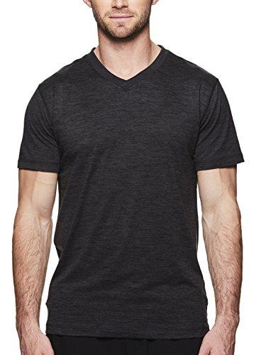 Gaiam Men's Everyday Basic V Neck T Shirt - Short Sleeve Yoga & Workout Top - Black Heather Everyday, Large