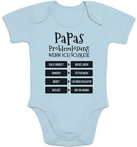 Shirtgeil Lustiges Geschenk Vater - Papas Problemlösung Baby Body Kurzarm-Body 57/68 (3-6M) Hellblau