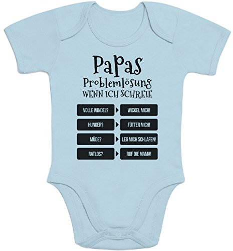 Shirtgeil Lustiges Geschenk Vater - Papas Problemlösung Baby Body Kurzarm-Body 0-3 Monate Hellblau