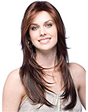 Long dark brown straight natural wig for women