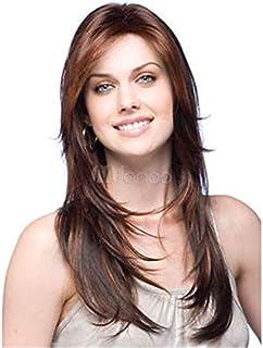 طويل بني داكن مستقيم شعر مستعار طبيعي للنساء