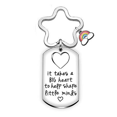 BHXRODE Llaveros de agradecimiento para profesores, arco iris, con grabado en forma de corazón grande para ayudar a dar forma a pequeñas mentes
