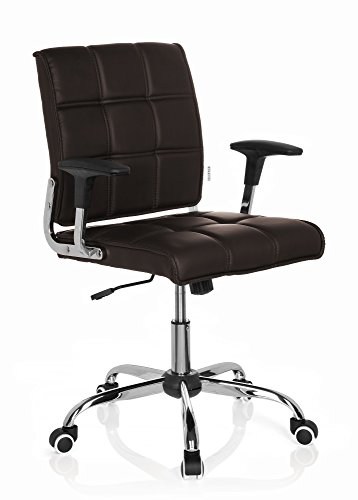 hjh OFFICE 719030 Home-Office Stuhl ERNESTO Kunstleder Braun/Chrom moderner Drehstuhl im Retro-Look