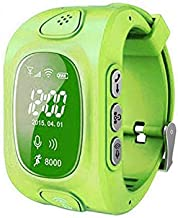 Camonity GPS/GSM/GPRS Triple Positioning Tracker Watch for Kids Children Smart Watch with SOS Position Safety Monitor Anti-lost Locator Tracker (Green)