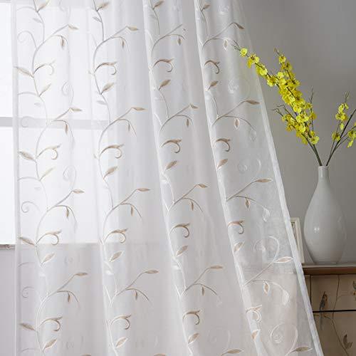 VISIONTEX - Cortinas de gasa para ventana, diseño de hojas, color beige
