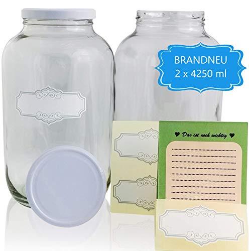 SMIJOS Set 4 Liter Glas Vorratsbehälter - extrem luftdicht - perfekt für Fermentation von Kombucha Pilz o. Kefir - Große Einmachgläser mit Deckel