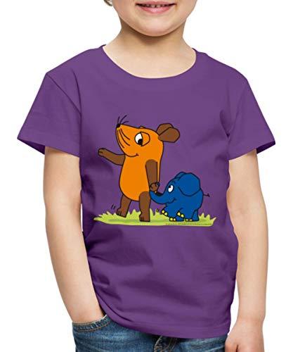 Sendung Mit Der Maus Elefant Und Maus Hand In Rüssel Kinder Premium T-Shirt, 110-116, Lila