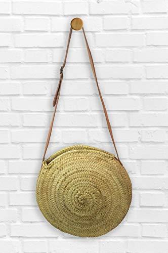 MAISON ANDALUZ Medium Circular Moroccan shoulder basket with long natural leather handles - Diameter 25 cm W12 cm