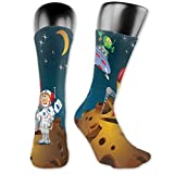 Photo de Soft Mid Calf Length Socks,Human And Alien Friendship Hanging On Pluto Stars Funny Celestial Buddies Design,Women Men Socks Cotton Casual Funny Cute