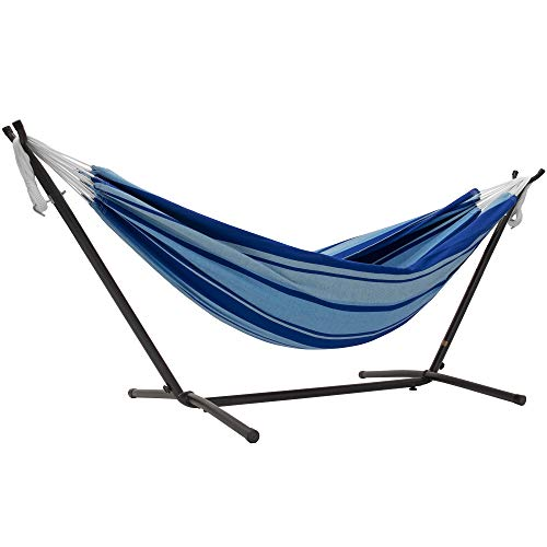 Vivere UHSDO9-39 Double Cotton Hammock with Space Saving Steel Stand, 450 lb Capacity- Premium Carry Bag Included, Island Breeze